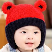 Infante de lã Multicolor Inverno Warm Earmuff urso Hat