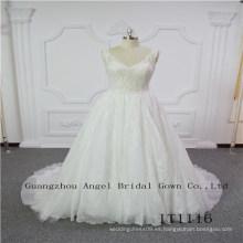 V cuello superior de encaje con vestido de novia sexy con cuentas