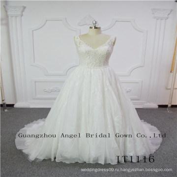 В верхней части шеи кружево с бисером сексуальные свадебные платья