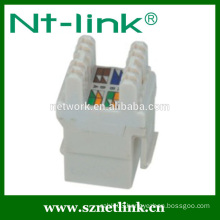 White Short Body Cat5e RJ45 UTP Female Jack