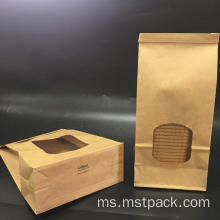 Kraft Paper Bag Roti dengan Tie Tin