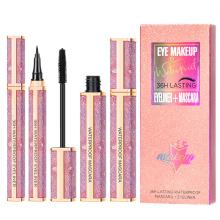 Hot Sale Diamond  4d Fiber Waterproof Eyelash Makeup Cosmetic Curling Lengthening Mascara  Eyeliner Set