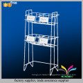 High quality modern white newspaper stand 2 tiers metal wire magazine display rack