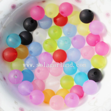 Vintage Matte Crystal Acrylic Round Smooth Spacer Beads