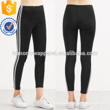 Black Contrast Striped Side Leggings OEM/ODM Manufacture Wholesale Fashion Women Apparel (TA7029L)