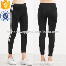 Contraste preto Listrado Lateral Leggings OEM / ODM Fabricação Atacado Moda Feminina Vestuário (TA7029L)