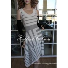 Falda intarsia sin mangas de lana de mujer con rayas