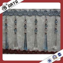 ployester pearl beaded trim fringe for home furnishing decoration