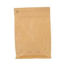 Bolsa de papel de embalaje de café Ziplock de papel Kraft plana pequeña al por mayor