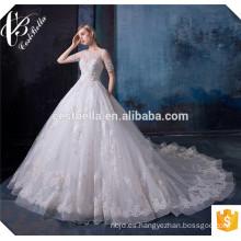 2016 elegantes de alta calidad elegante ver a través de la espalda vestidos de boda blanco puro del cordón del vestido de boda