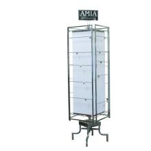 Preço de fábrica Loja de varejo Quadro de metal Pavimento de parede Custom 4-Way Stained Art Glass Display Stand