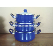 enamel cookware casserole sets with full color glass lid and plastic handle
