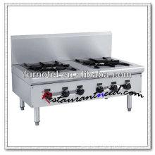 K228 Réchaud à gaz 2 brûleurs en acier inoxydable