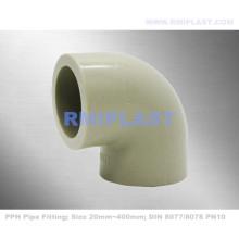Encaixe de tubulação PPH 90 Fusão de soquete de cotovelo