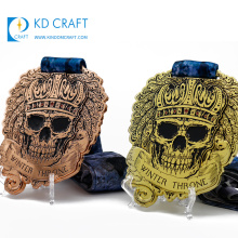 Unique design custom metal recessed coloring pirate logo mist halloween medal with nylon ribbon