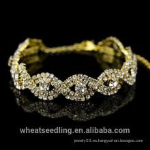 2015 nueva señora cristalina Bracelet de la armadura del oro del diseño, pulsera de las mujeres