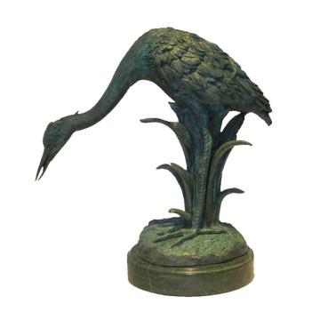 Animal Bronze Sculpture Oiseau Grue Décoration En Laiton Statue Tpy-628