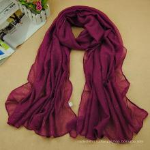 Новых конструкций сплошной цвет женщины тюрбан оптовая бронзировать Исламская мусульманский хиджаб шарф