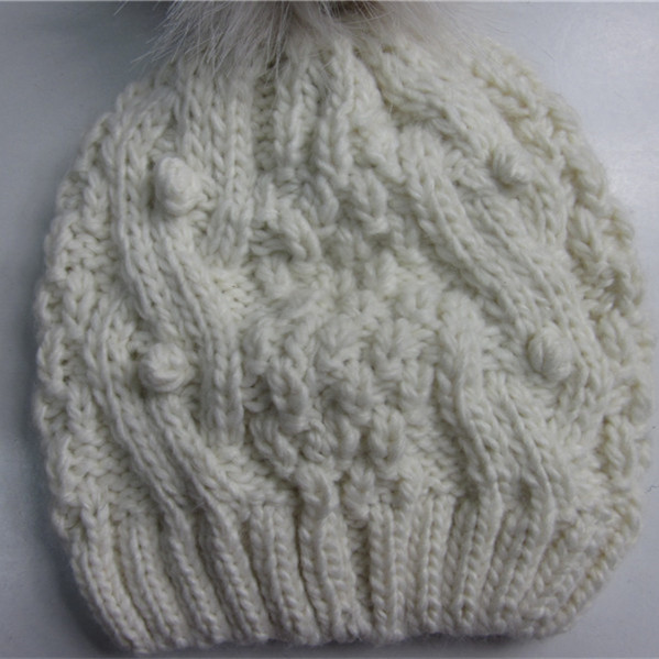 Fashion Popcorn Off White Pompom Hat