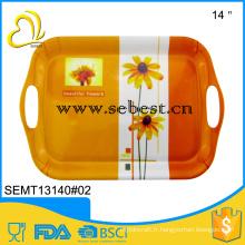 Hot vente utiliser partie 14 pouces mélamine vaisselle en plastique plateau de dîner
