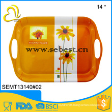 hot sale use party 14 inch melamine plastic tableware dinner tray