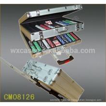Neue Ankunft quadratischen Ecke 1000 Poker Chip Wagen Aluminiumgehäuse mit 2 Rädern