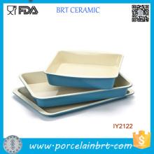 3PCS Großhandel Blau Keramik Kuchen Pan Kochgeschirr Set