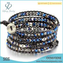 Trendy Bohemia Leder Perlen Armbänder, Multi-Wrap Leder Freundschaft Armband