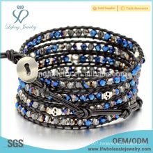Trendy Bohemia leather beaded bracelets,multi wrap leather friendship bracelet