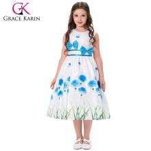 Grace Karin niños vestido de dibujos animados de hierba sin mangas de cuello redondo arco-nudo decorado 2 ~ 12 años de edad vestido de niña CL008996-2