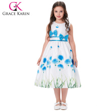 Grace Karin Kids Children Dress Grass Pattern Sleeveless Round Neck Bow-Knot Decorated 2~12 Year Old Girl Dress CL008996-2