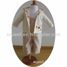 100% Cotton Long Sleeve Children Clothing Coat And Suspenders