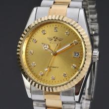 winner luxury diamond master watch with alloy transparent back case date design watch