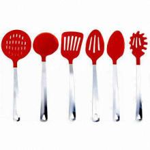 Nylon/Stainless Steel Kitchen Tools, Incl.Skimmer/Soup Spoon/Slotted Turner/Rice Spoon/Powder Mixer