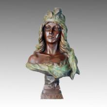 Bustos Escultura em Bronze Donzela Decoração Latão Estátua TPE-254
