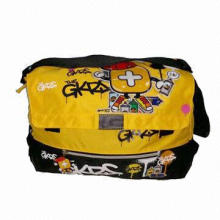 Cartoon fabric shoulder bag/big front flap with cartoon rubber content, OEM welcomed