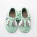 Green Newborn Baby Casual Moccasins With Fashion Leaf