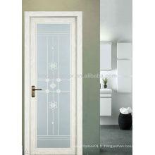 Porte battante en aluminium avec double vitrage, porte design moderne pour salle de bain