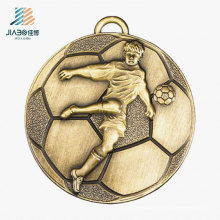 Médaille de bronze de football en métal de vente en gros de sports faits sur commande