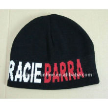 Knitted hatswith embroidery logo /hotsale winter beanie hats