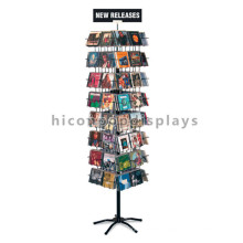 Floorstanding Metal Rotating Commercial Book Store Or Mini Mart Display Retail Shelving System