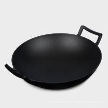 Acessórios de cozinha de pré-temperado / óleo vegetal Wok de ferro fundido
