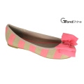 Women′s Stripe Printed Canvas with Bow Flat Ballet Shoes