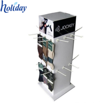 Ecofriendly 4 Sides Corrugated Cardboard Socks Display Stands With Hooks
