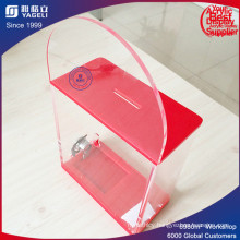 Durable Cheap Acrylic Donation Box with Brochure Holder
