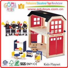 Water Based Painting Wood Role Play Toys Fire Station Firefighter Kids Playset
