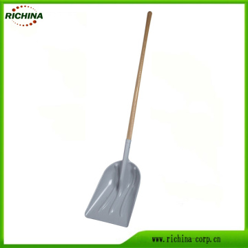 Long Wood Handle Poly Snow Scoop Shovel