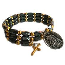 Holy Christian Picture Hematite Rosary Bracelet
