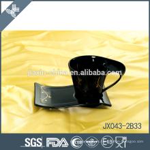 043-2B33 180CC taza y platillo de café de cerámica