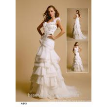 Astergarden sirena straple sin mangas A línea de encaje vestido de novia vestido de novia D029